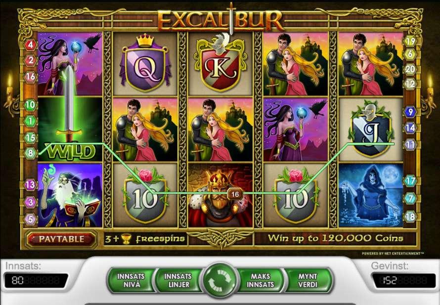 excalibur spilleautomat